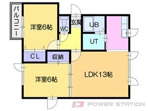 札幌市東区北34条東28丁目0賃貸アパート間取図面