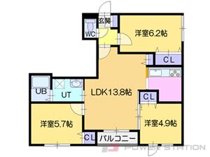 札幌市東区北24条東13丁目0賃貸マンション間取図面
