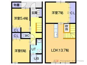 札幌市東区北33条東7丁目0テラスハウス間取図面
