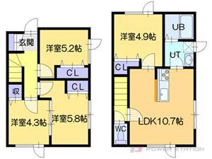 札幌市東区北39条東2丁目1テラスハウス間取図面