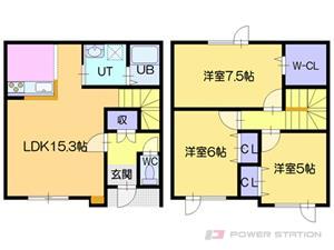 札幌市東区北31条東3丁目1テラスハウス間取図面
