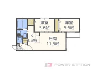 札幌市東区北19条東1丁目0賃貸マンション間取図面