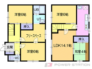 札幌市東区北46条東9丁目1一戸建貸家間取図面
