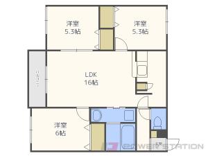 札幌市東区伏古9条3丁目11賃貸アパート間取図面