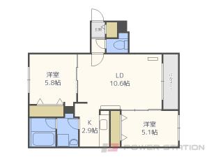 札幌市東区北13条東13丁目11賃貸マンション間取図面