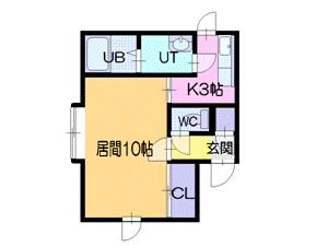1Kアパート図面