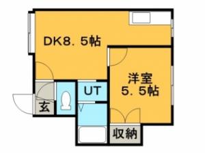 稲穂1DKアパート図面