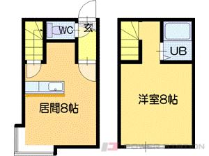 手稲1LDKアパート図面