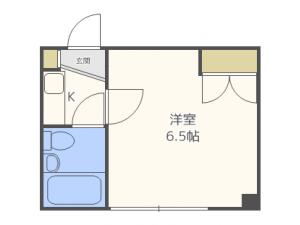 北12条1DKマンション図面