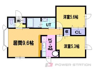 百合が原2LDKアパート図面
