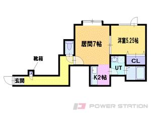 1LDKアパート図面