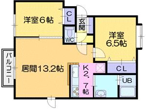 2LDKアパート図面