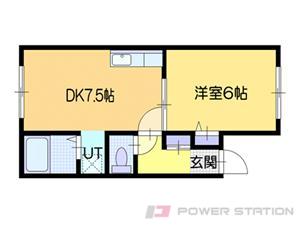 百合が原1DKアパート図面