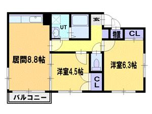 篠路2DKアパート図面