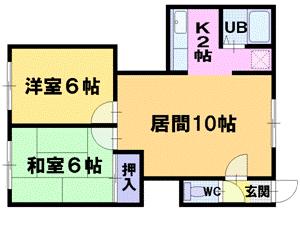 篠路2LDKアパート図面