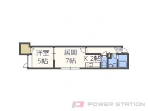 篠路1LDKアパート図面