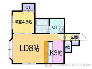 真駒内1DKアパート図面