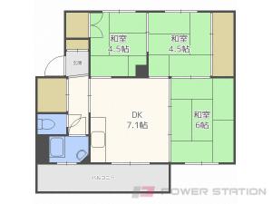 真駒内3DKマンション図面
