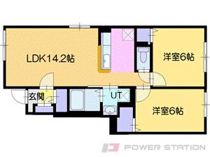 真駒内2LDKアパート図面