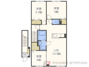 真駒内3LDKアパート図面
