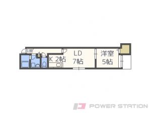 真駒内1LDKアパート図面