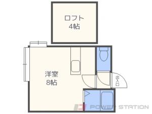 八軒1Rアパート図面