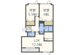 発寒南2LDKアパート図面
