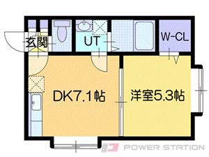 北広島1DKアパート図面