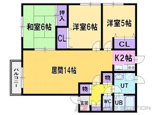 北広島3LDKアパート図面