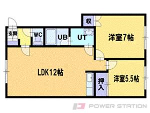 北広島2DKアパート図面