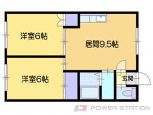 上野幌2DKアパート図面