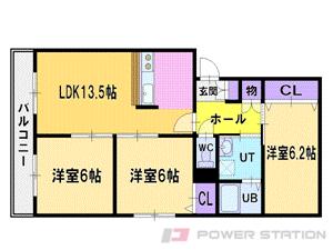 上野幌3LDKアパート図面