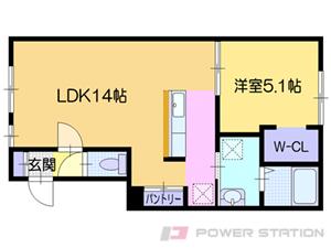 福住1LDKアパート図面