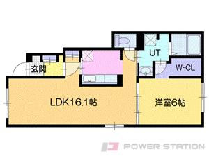 北広島1LDKアパート図面