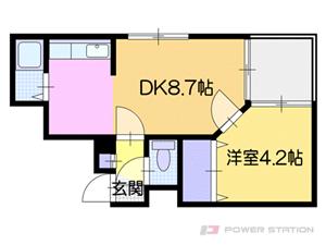 東札幌1LDKアパート図面