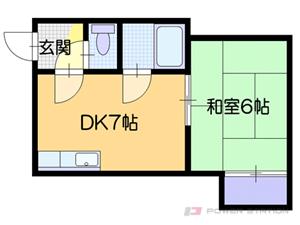 東札幌1DKアパート図面