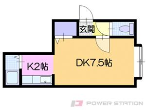 東札幌1Kアパート図面