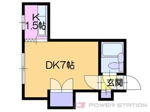 白石1Kマンション図面