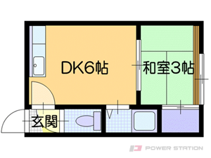 南郷7丁目1DKマンション図面