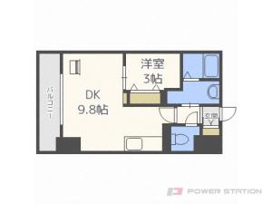東札幌1LDKマンション図面