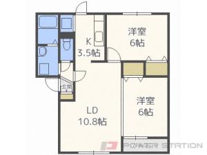 菊水2LDKアパート図面