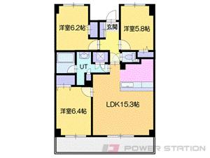 南平岸3LDK分譲リースマンション図面