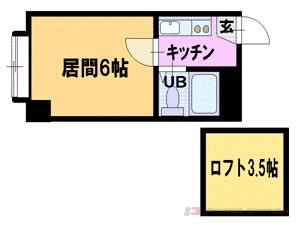 学園前1Kマンション図面