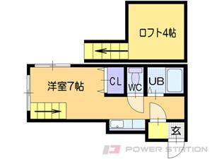 札幌市豊平区豊平1条7丁目0賃貸アパート間取図面