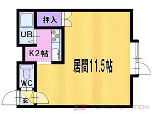 学園前1Kアパート図面