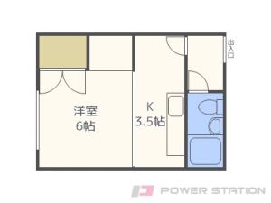 豊平公園1Kマンション図面