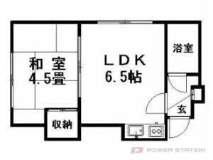豊平公園1DKアパート図面