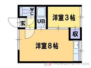 美園1DKアパート図面