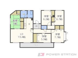 札幌市豊平区中の島1条5丁目0賃貸マンション間取図面