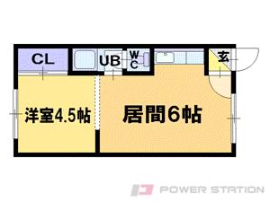 南平岸1DKマンション図面